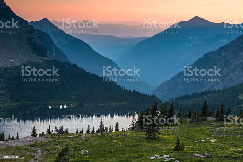 Glacier National Park, hidden lake stock photo