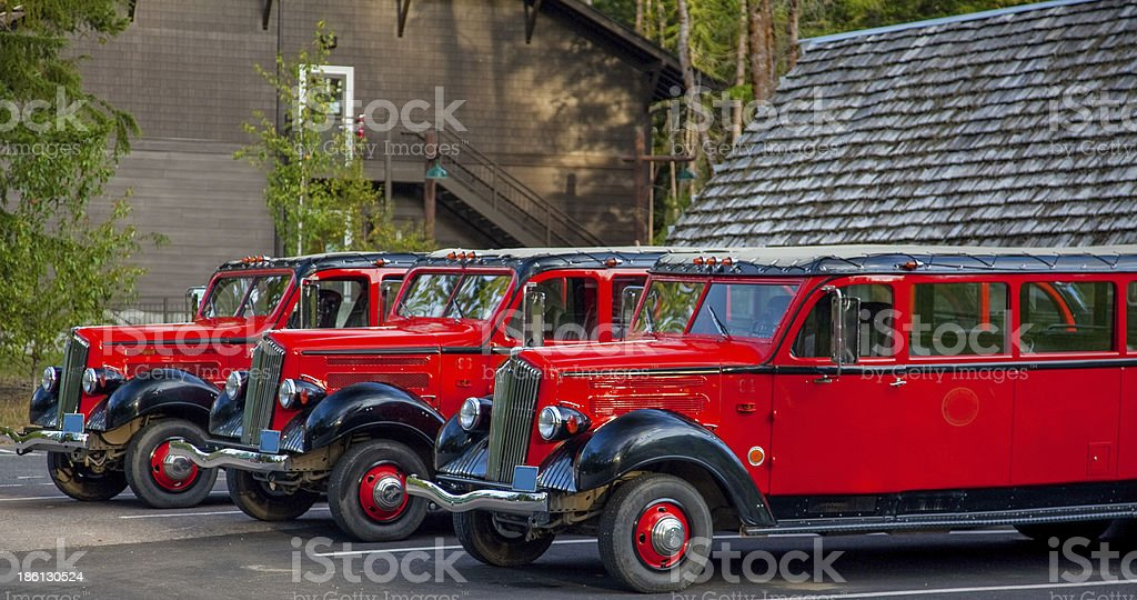 Glacier National Park - Historic Red Buses stock photo