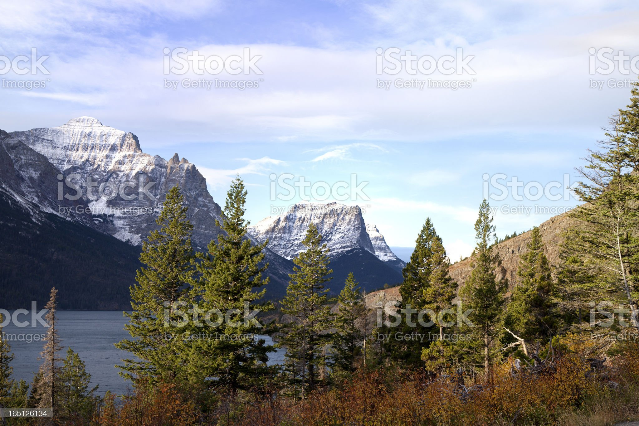 Glacier National Park in fall, Montana royalty-free stock photo