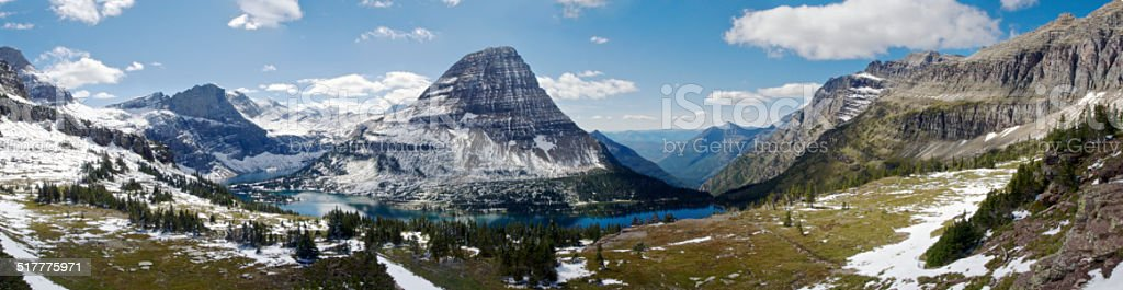 Glacier National Park Logan Pass Hidden Lake Trail Lake Panorama stock photo