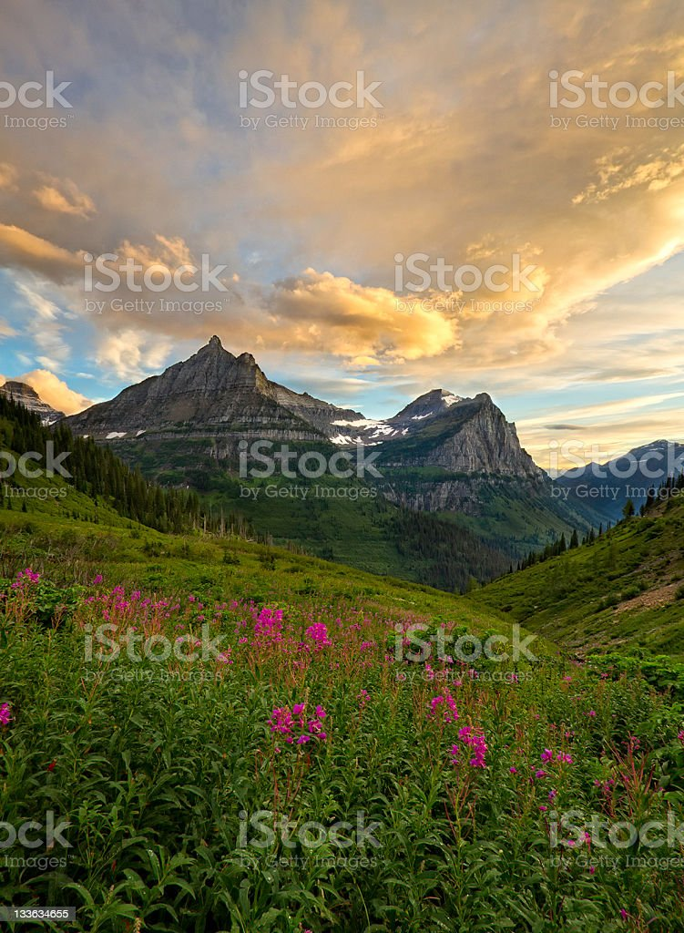 Glacier National Park Mountain Scene stock photo