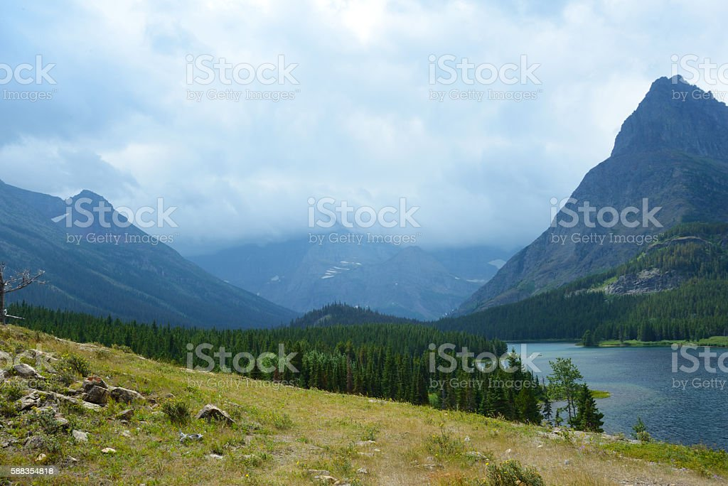 Glacier National Park scenic with lake and mountains. stock photo