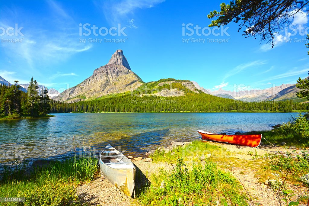 Glacier National Park, Swiftcurrent Lake stock photo