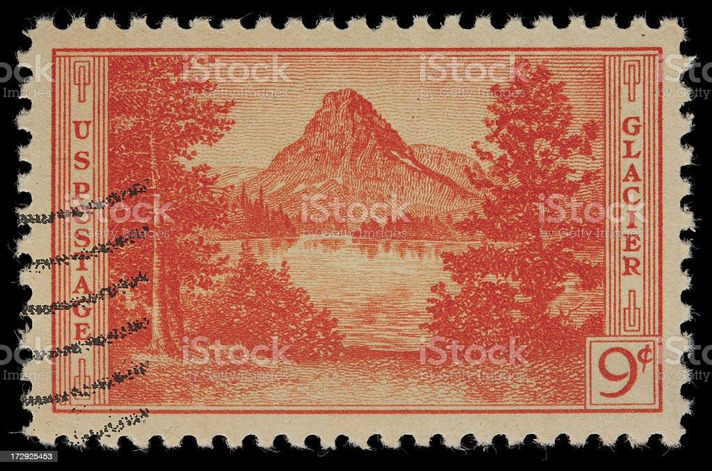 Glacier National Park US postage stamp royalty-free stock photo