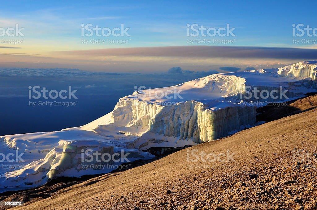 Glacier on Mt. Kilimanjaro stock photo