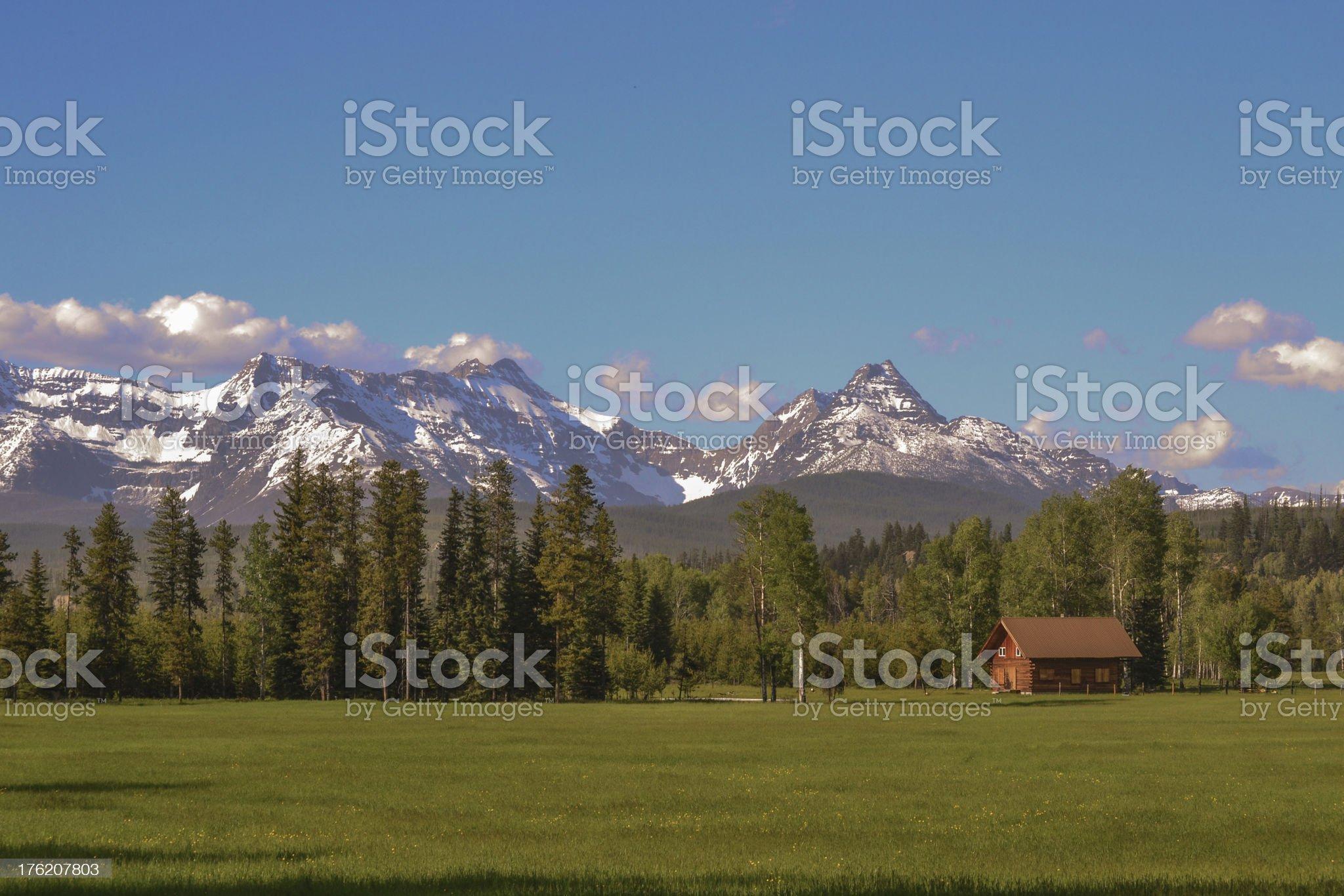 Glacier Park Red Cabin royalty-free stock photo