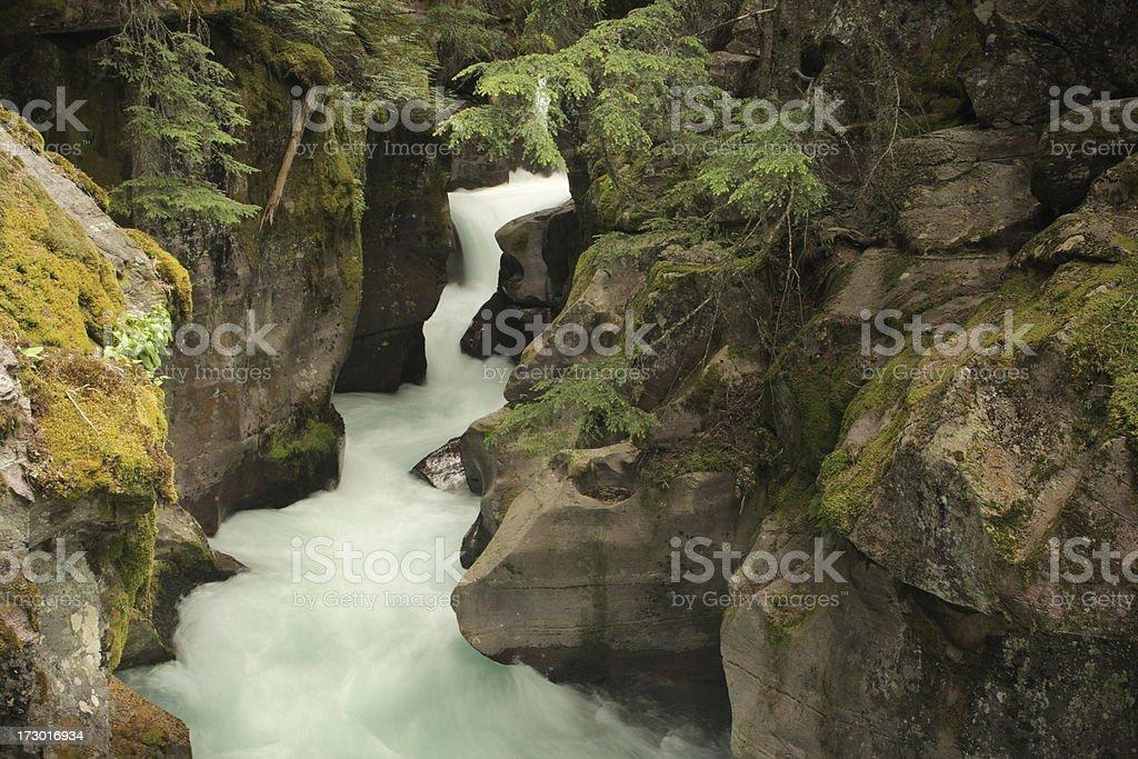 Glacier Park Waterfall Cascade Gorge stock photo