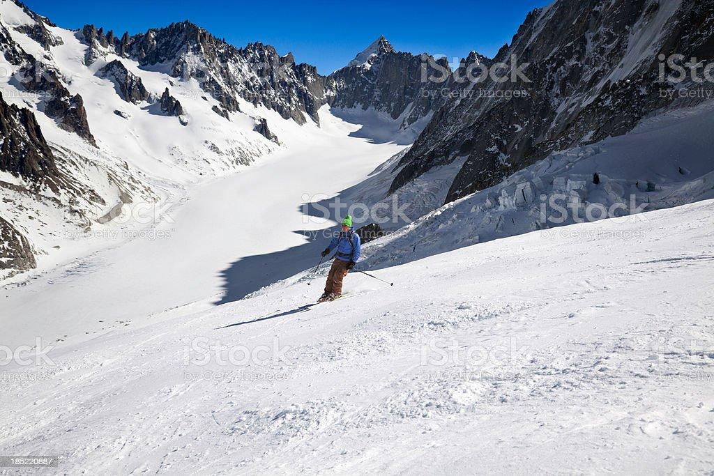 Glacier skiing in Chamonix, French Alps. stock photo