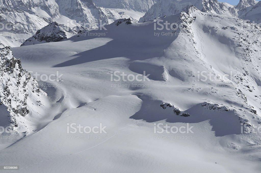 Glacier skiing stock photo