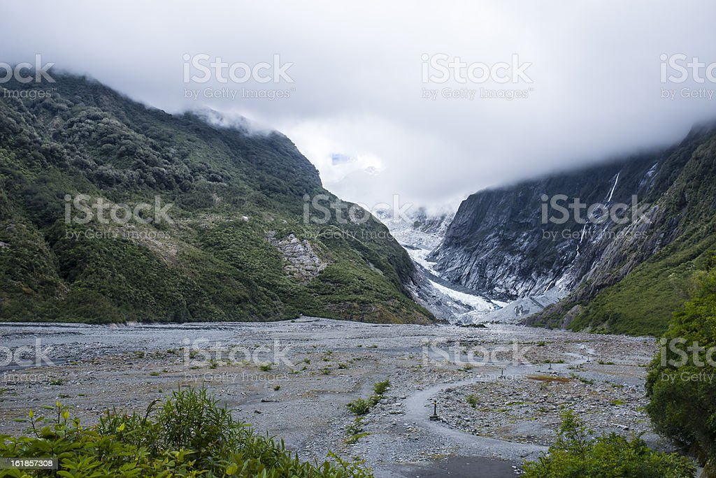Glacier surrounded by a beatiful nature stock photo