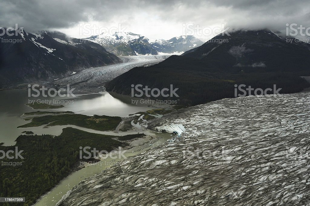 Glacier View in Misty Moody Morning stock photo