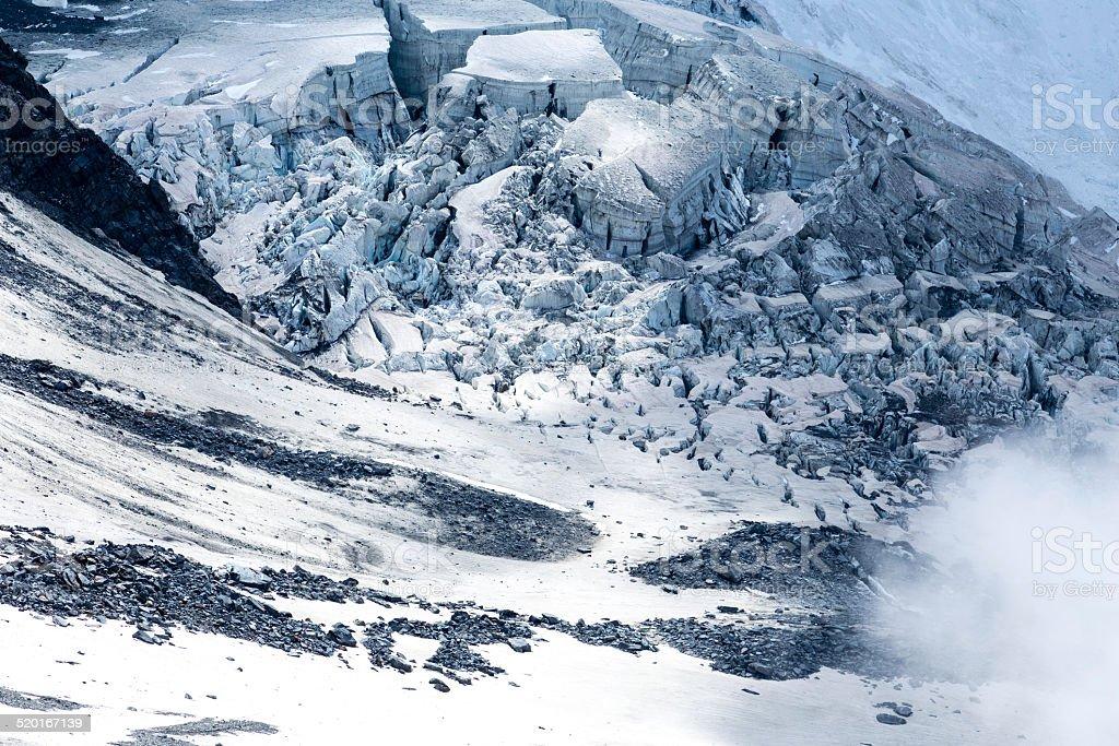 Glacier view on Refuge Tete, Mont Blanc, Chamonix stock photo