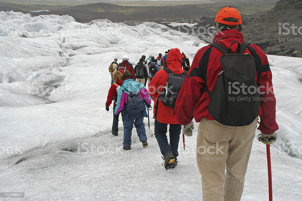 Glacier walking in summer royalty-free stock photo
