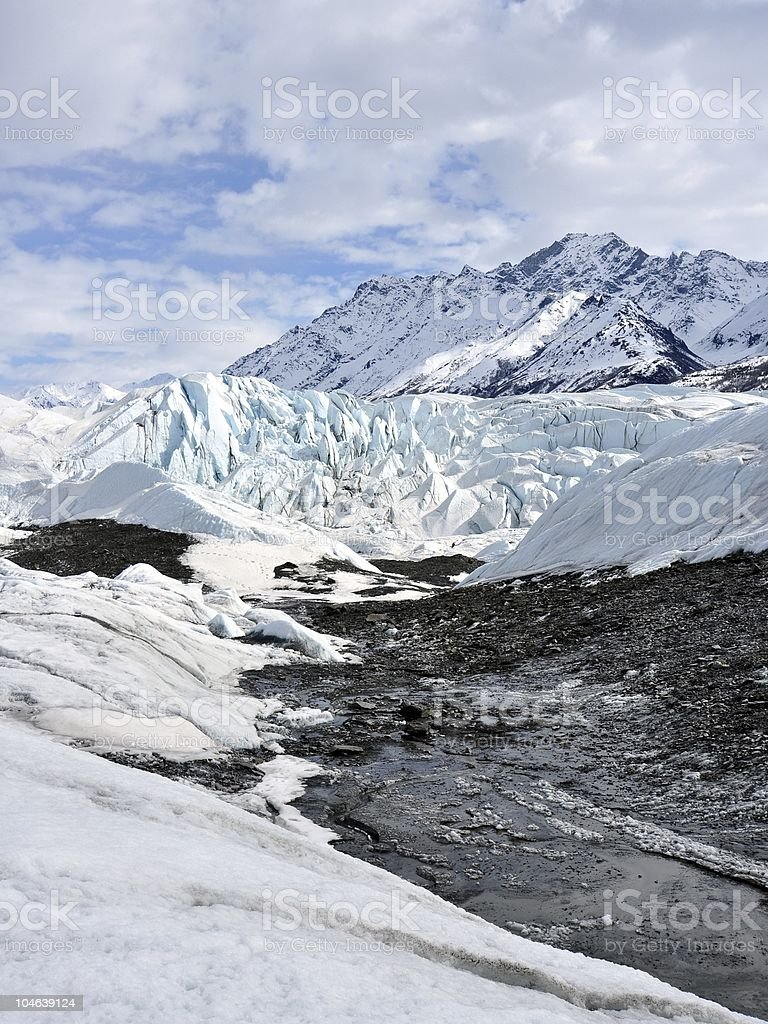 Glacier with rubble from moraine royalty-free stock photo
