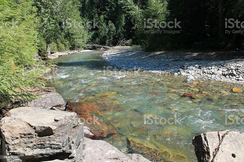 Glacier-fed Montana mountain stream stock photo