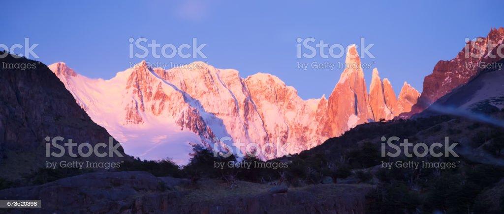 Glaciers and mountains Fitz Roy, Cerro Torre stock photo