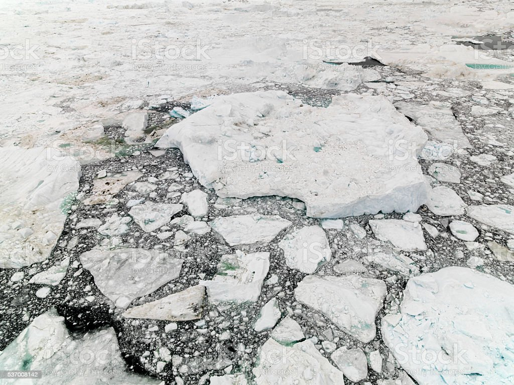glaciers are melting on te arctic ocean in Greenland stock photo