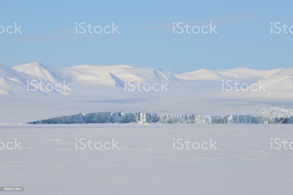 Glaciers meeting the frozen ocean stock photo