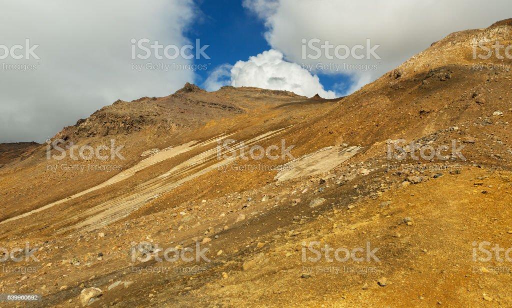 Glaciers on slopes of the active volcano Mutnovsky. stock photo