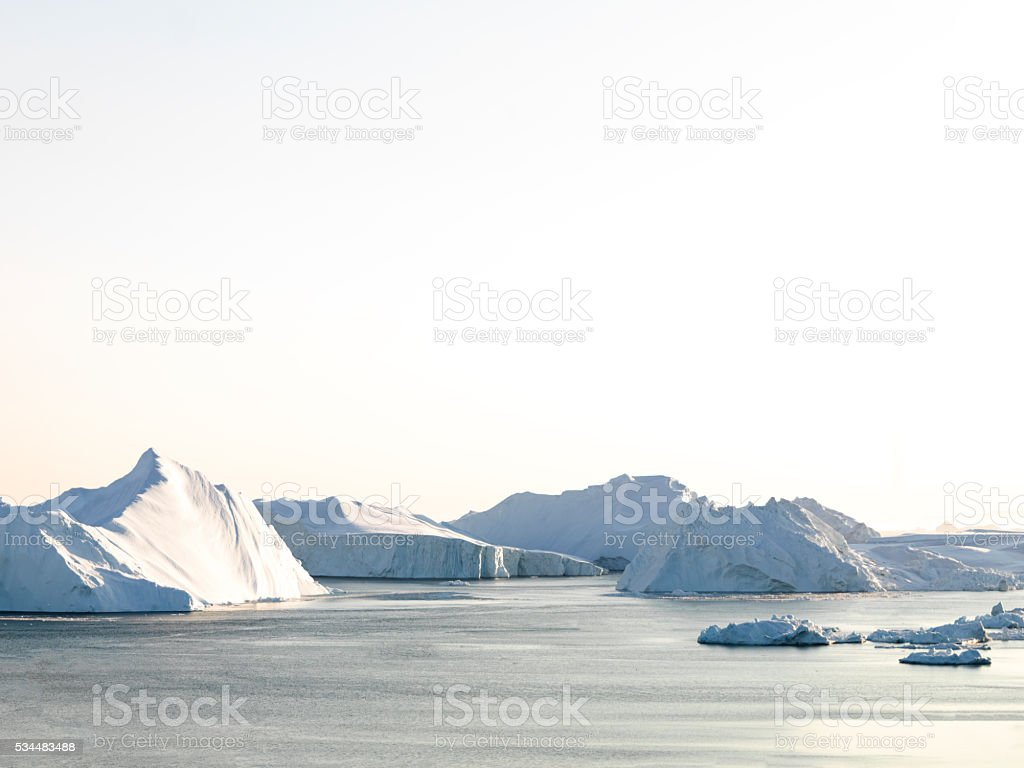 Glaciers on the arctic ocean in Greenland stock photo