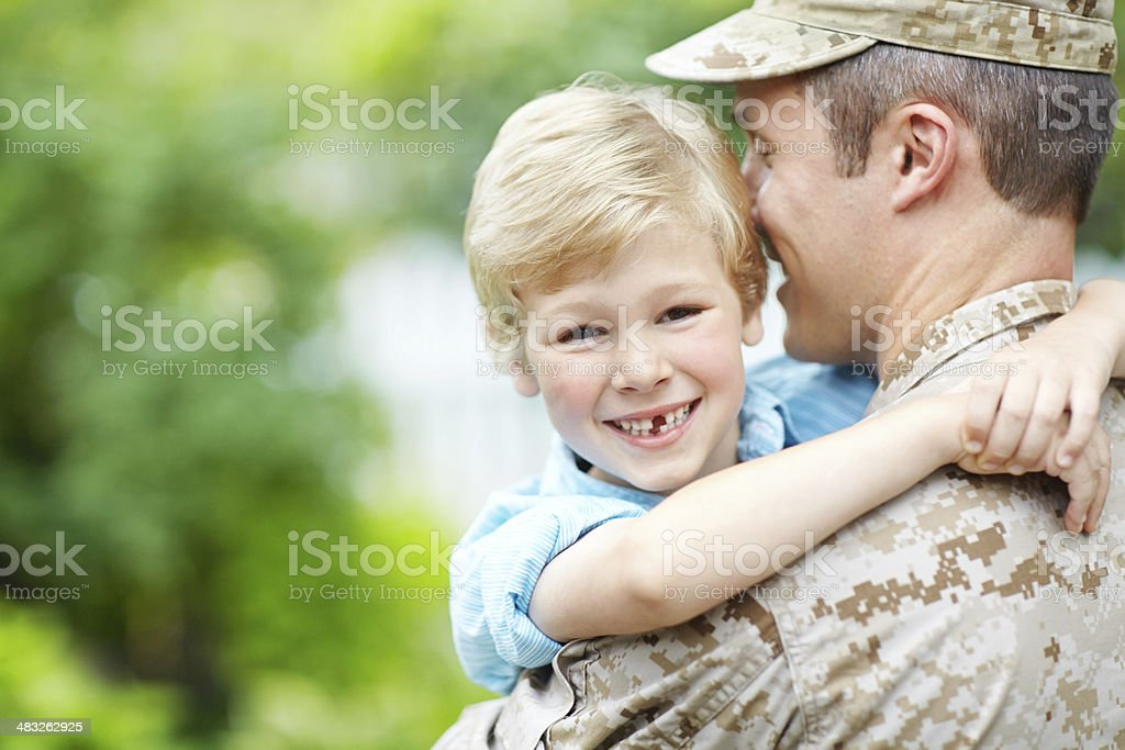 Glad to have his daddy home royalty-free stock photo