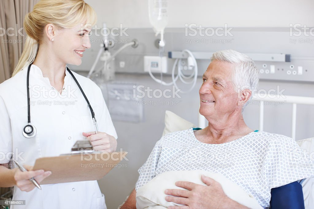 Glad to see her patient smiling royalty-free stock photo