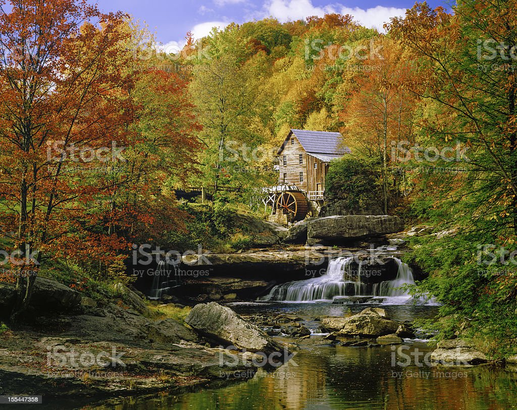 Glade Creek Grist Mill nostalgia blazing autumn colors West Virginia stock photo
