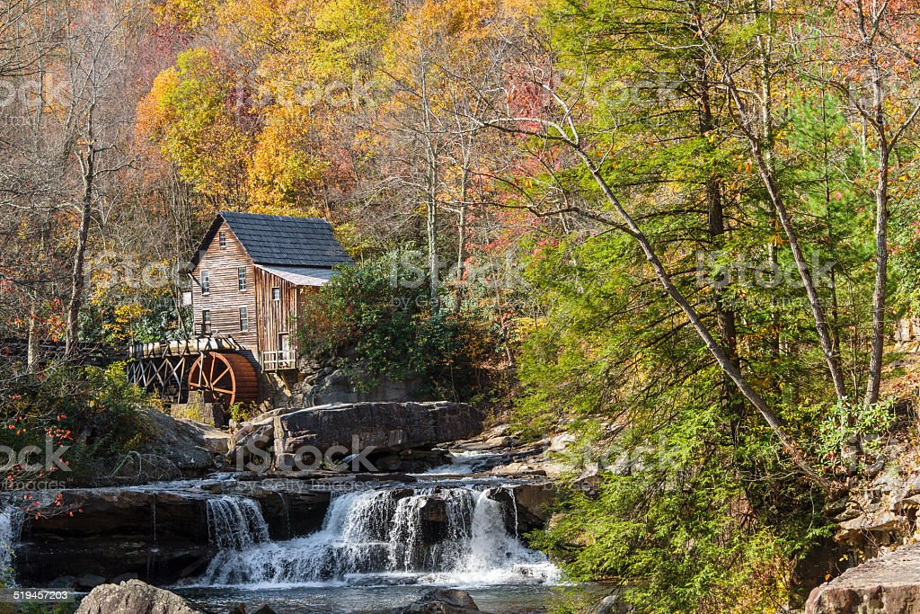 Glade Creek Mill and Colorful Autumn Leaves stock photo