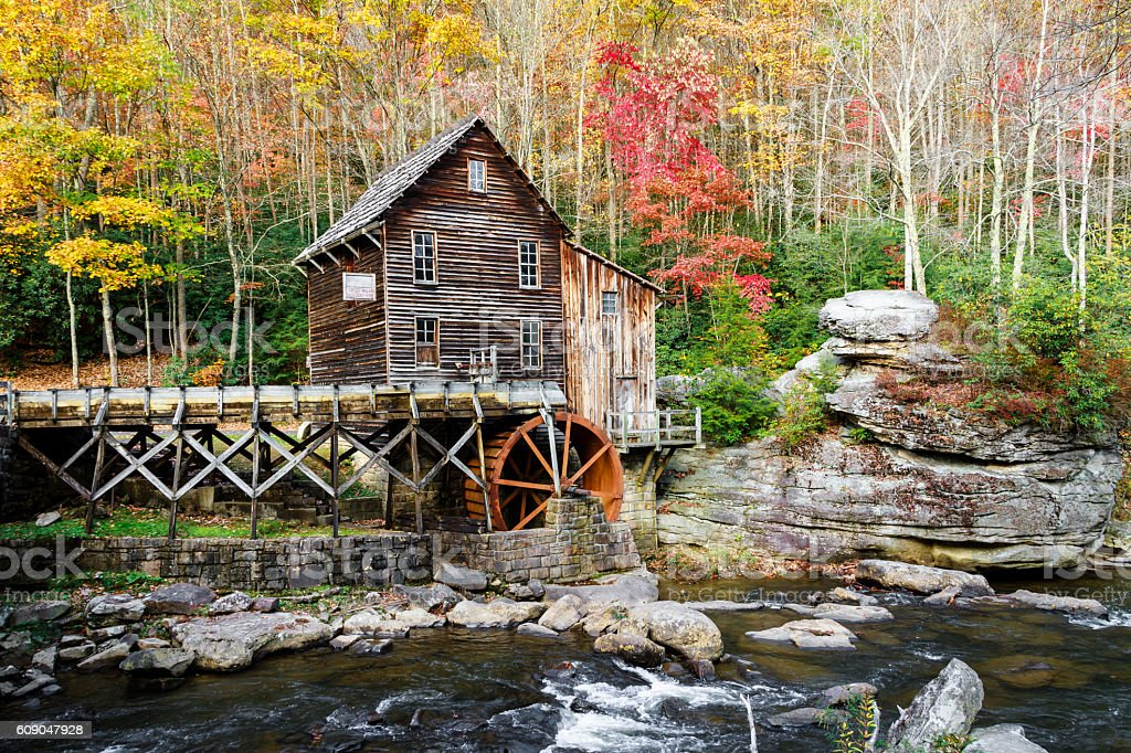 Glade Creek Mill (West Virginia) In Autumn stock photo
