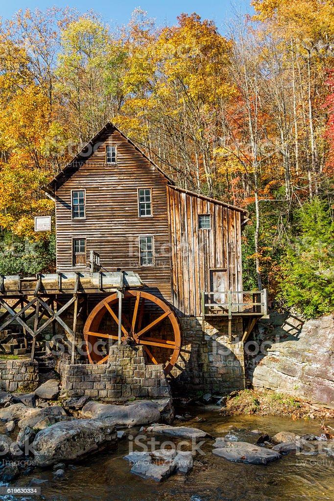 Glade Creek Mill in Fall Splendor, Verticle Orientation stock photo