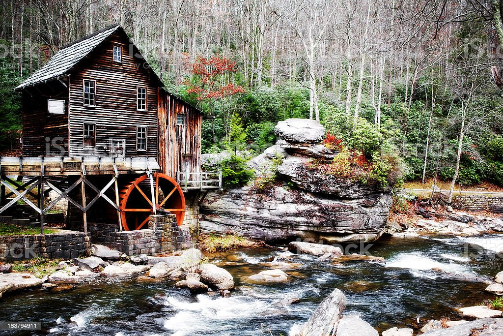 Glade Creek, Old Grist Mill, Babcock State Park, West Virginia royalty-free stock photo