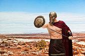 Gladiator fighting in desert