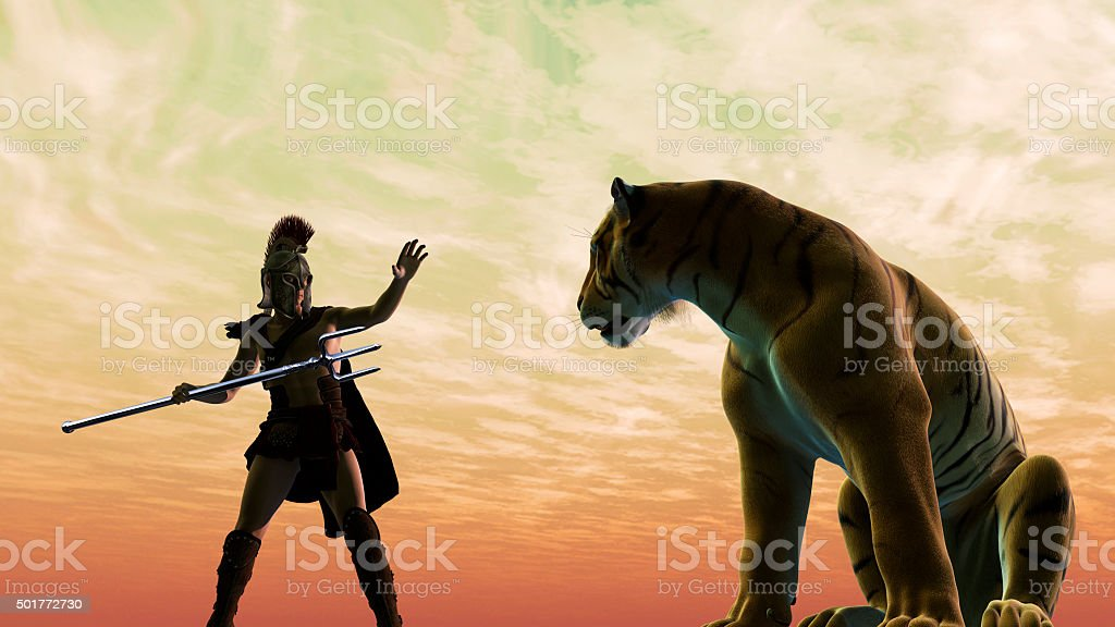 Gladiator fighting with a tiger stock photo