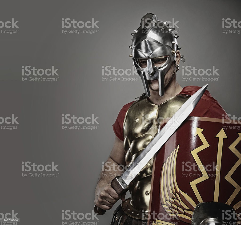 Gladiator ready for a war stock photo