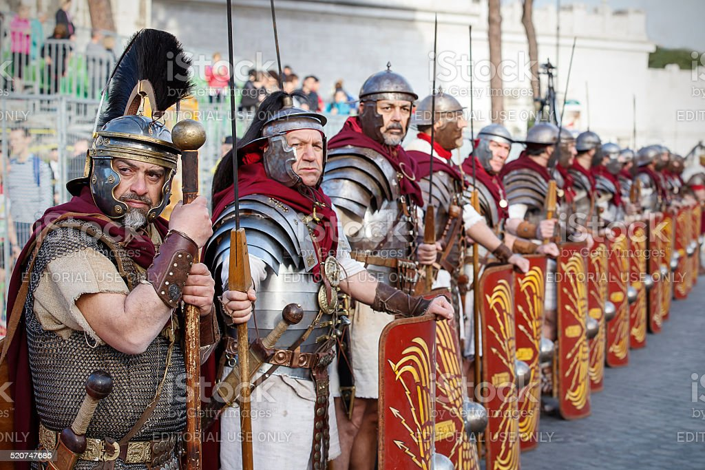 Gladiators in line stock photo
