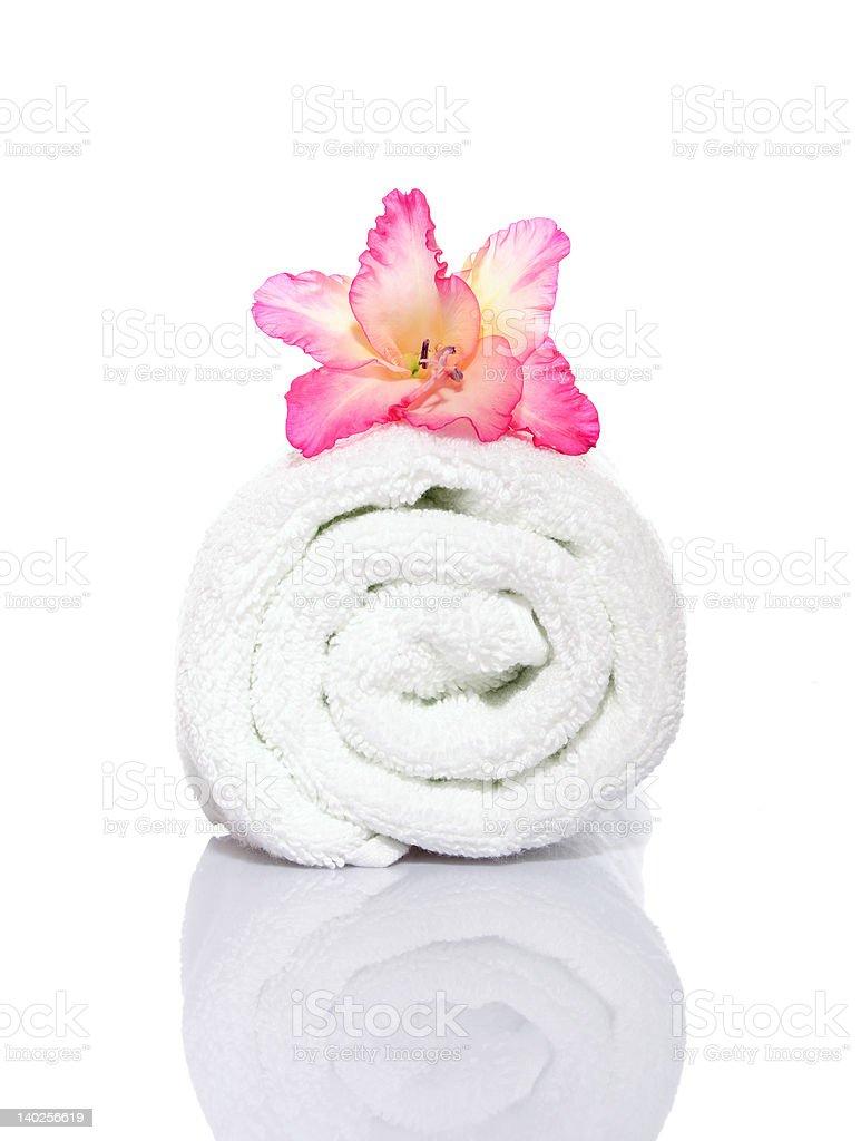 Gladiola and Towel royalty-free stock photo