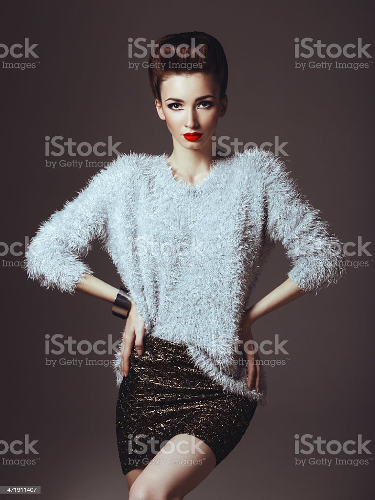 Glam diva in sweater royalty-free stock photo