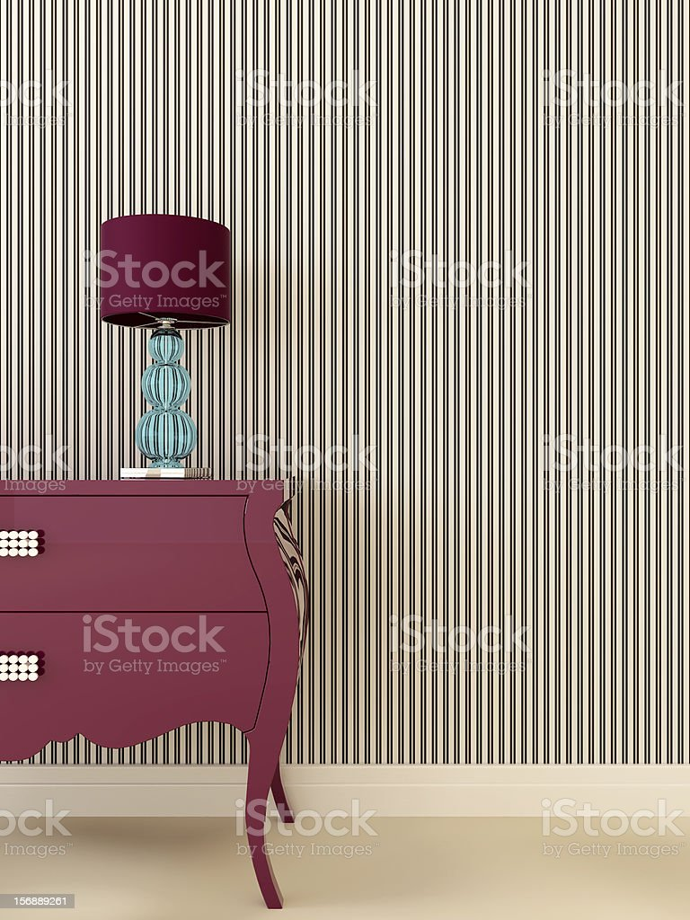Glamor dresser with lamp stock photo