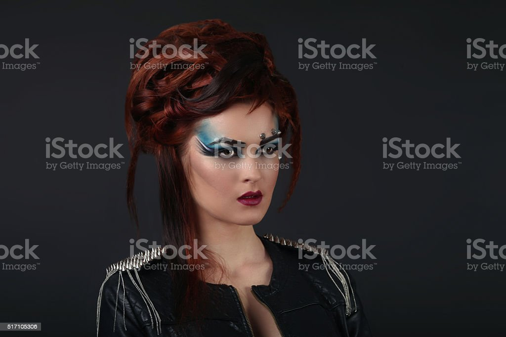 glamor girl with blue makeup royalty-free stock photo