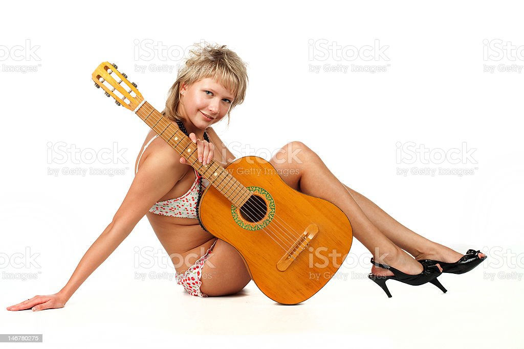glamor young woman with guitar royalty-free stock photo