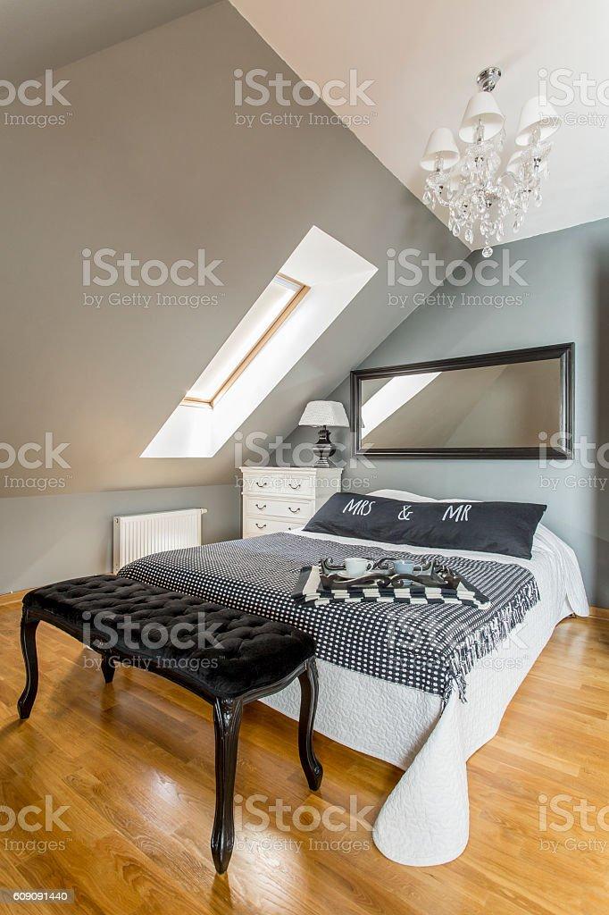 Glamorous bedroom design stock photo
