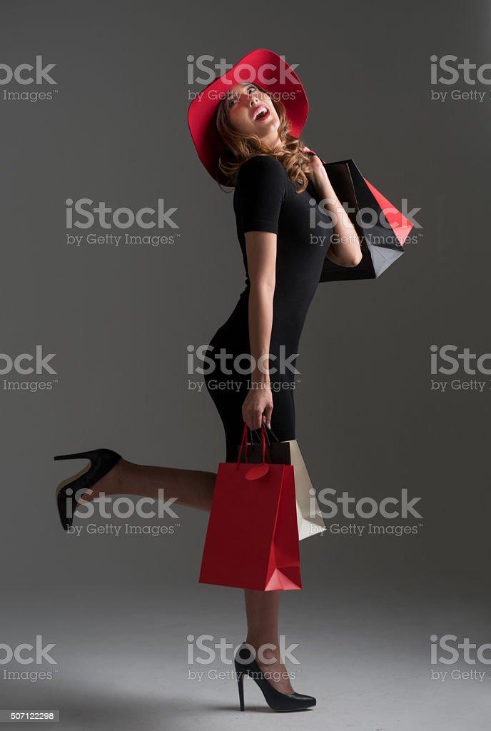 Glamorous fashion woman shopping stock photo