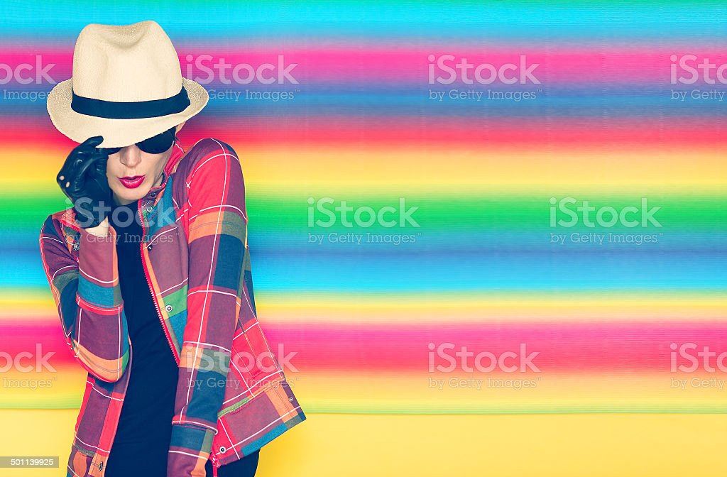 glamorous girl hipster style stock photo