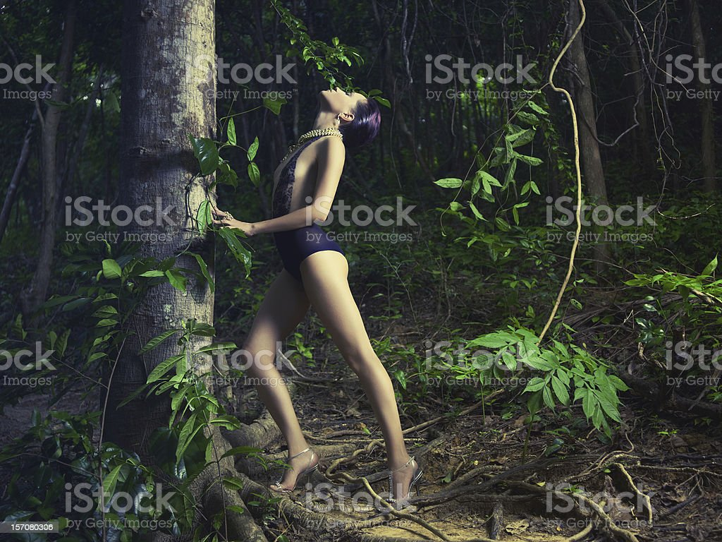 Glamorous lady in a tropical forest royalty-free stock photo