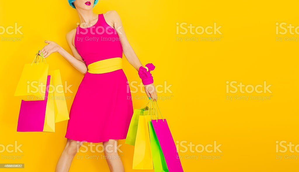 Glamorous lady shopping.time discounts and sales stock photo