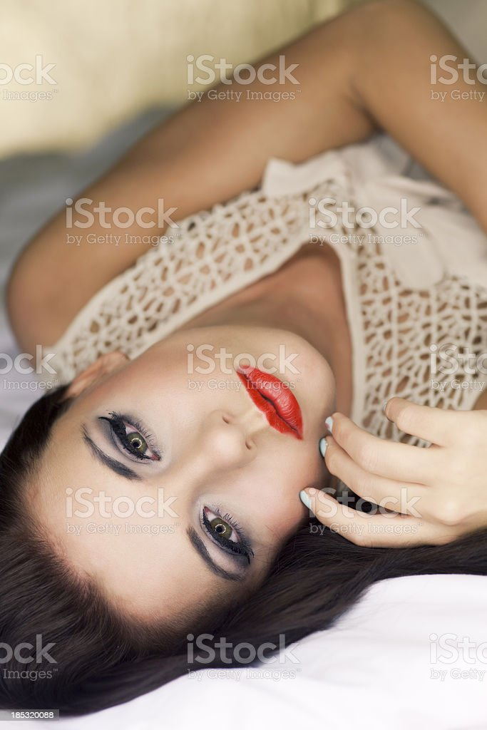 Glamorous Woman In Bed royalty-free stock photo