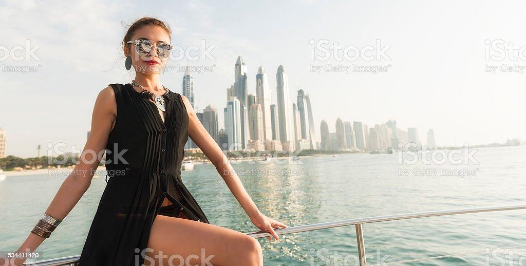 Glamorous woman in Dubai stock photo