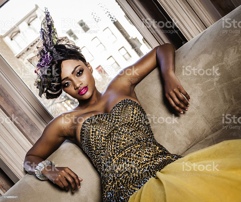 Glamorous Woman in Evening Gown royalty-free stock photo