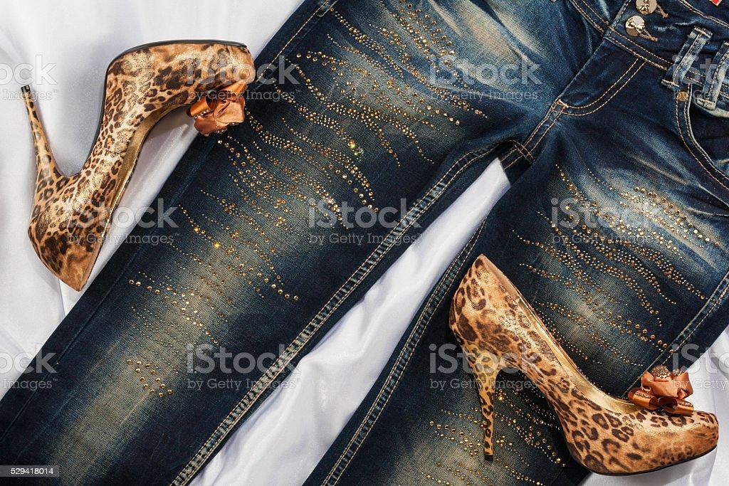 Glamorous women's fashion, leopard shoes, lying on jeans stock photo