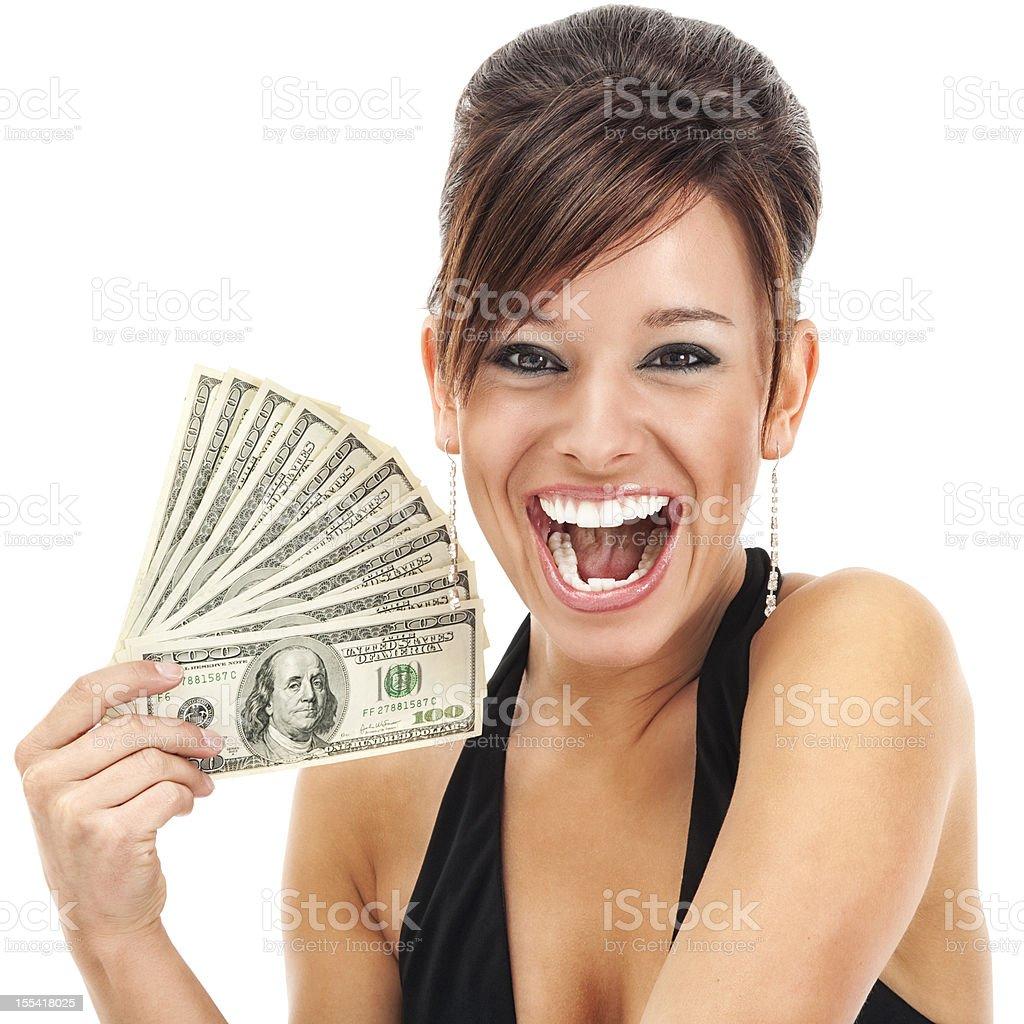 Glamorous Young Woman Holding Money royalty-free stock photo